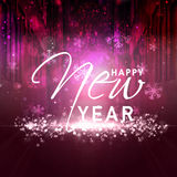 Greeting card for Happy New Year celebration. Elegant creative greeting card design decorated with snowflakes on shiny background for Happy New Year celebration Royalty Free Stock Images