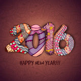 Greeting card for Happy New Year celebration. Elegant greeting card design with colorful floral decorated text 2016 for Happy New Year celebration Royalty Free Stock Photos