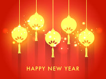 Greeting card for Happy New Year celebration. Elegant greeting card design with glossy hanging lanterns on shiny background for Happy New Year celebration Stock Images