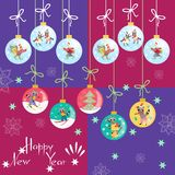 Greeting card Happy New Year! Christmas balls with cute animals.  Stock Image