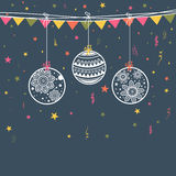 Greeting card for Happy New Year and Christmas. Beautiful hanging Xmas Balls on colorful buntings and stars decorated background for Happy New Year and royalty free illustration