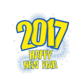 Greeting Card for Happy New Year 2017. Creative Text Happy New Year 2017, Stylish lettering composition on fireworks explosion or starburst, Can be used as Royalty Free Stock Images
