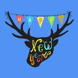 Greeting card Happy New Year. Deer head and colorful flags. Holiday Vector Illustration with Lettering Composition. Graphic design for banner, poster, card Royalty Free Stock Images