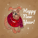 Greeting card for Happy New Year with a dog. Royalty Free Stock Images