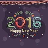 Greeting card for Happy New Year 2016. Elegant greeting card design with colorful text 2016 for Happy New Year celebration royalty free illustration