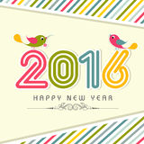 Greeting card for Happy New Year 2016. Elegant greeting card design with colorful text 2016 and cute birds on stylish background for Happy New Year celebration vector illustration