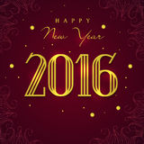 Greeting card for Happy New Year 2016. Elegant greeting card design with shiny text 2016 on floral decorated background for Happy New Year celebration Stock Photography