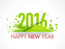Greeting card for Happy New Year 2016. Elegant greeting card design with stylish green text 2016 for Happy New Year celebration Stock Photo