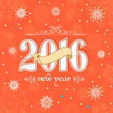 Greeting card for Happy New Year 2016. Elegant greeting card design with stylish text 2016 and blank ribbon on snowflakes decorated background for Happy New Royalty Free Stock Image