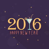 Greeting card for Happy New Year 2016. Elegant greeting card design with stylish text 2016 and juice glass for Happy New Year celebration Royalty Free Stock Images