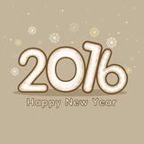 Greeting card for Happy New Year 2016. Elegant greeting card design with stylish text 2016 on snowflakes decorated background for Happy New Year celebration Stock Photography