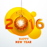 Greeting card for Happy New Year 2016. Elegant greeting card design with stylish text 2016 and sparkling hanging Xmas Ball for Happy New Year celebration Stock Images