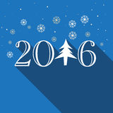Greeting card for Happy New Year 2016. Elegant greeting card design with stylish text 2016 and Xmas Tree on snowflakes decorated blue background for Happy New vector illustration