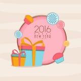Greeting card for Happy New Year 2016. Elegant greeting card design with wrapped gifts for Happy New Year celebration Stock Photo