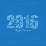 Greeting card for Happy New Year 2016. Elegant greeting card with stylish text 2016 made by snowflakes on blue background for Happy New Year celebration Stock Image