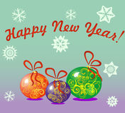Greeting card happy new year in English Stock Image