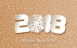 Vector Happy New Year 2018 background with paper cuttings. Greeting card Happy New Year 2018 with falling snow. Numbers and snowflake cut from paper for holiday Royalty Free Stock Image