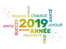 2019 Greeting Card - Happy New Year - French. Greeting card for 2019 new year. Bonne Année. French words rmean success, happiness, luck, health, friendship stock illustration