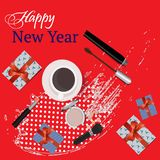 Greeting card Happy New Year with gifts, and beauty cosmetics, lipstick, mascara, blush. Vector. Decorative cosmetic stock illustration