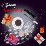 Greeting card Happy New Year with gifts, and beauty cosmetics. Vector. Decorative cosmetic royalty free illustration