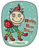 Greeting Card Happy New Year! Goat Santa Stock Photos