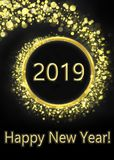 Greeting card happy new year 2019. Greeting card with happy new year, gold and black with inscription happy new year 2019 royalty free illustration