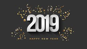 Greeting Card. Happy New Year 2019 golden confetti stock image
