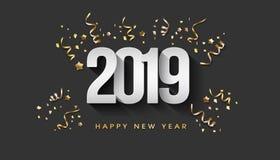Greeting Card. Happy New Year 2019 golden confetti vector illustration