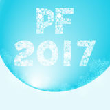 Greeting card for happy new year with inscription pf 2017 - pour feliciter, which means congratulations. This greeting card is made from many of snowflakes Royalty Free Stock Image