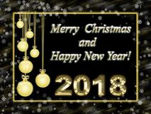 Greeting card with happy new year and merry christmas. Gold frame and inscription 2018 Royalty Free Stock Photos