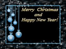 Greeting card with happy new year and merry christmas. Blue frame and gold inscription Stock Photos