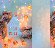 Greeting card Happy New Year and Merry Christmas. House or chalet.  Background of winter decoration for the holiday. Mockup. royalty free stock photos