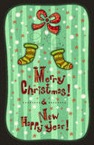 Greeting Card Happy New Year, Merry Christmas Royalty Free Stock Photography