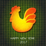 Greeting card Happy New Year and Merry Christmas. Vector illustration with symbol 2017 - fiery red cock . 2017 - Year of the Rooster in the Chinese calendar Royalty Free Stock Photography