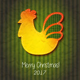 Greeting card Happy New Year and Merry Christmas. Vector illustration with symbol 2017 - fiery red cock . 2017 - Year of the Rooster in the Chinese calendar Royalty Free Stock Images