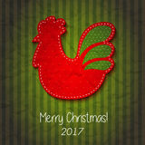 Greeting card Happy New Year and Merry Christmas. Vector illustration with symbol 2017 - fiery red cock . 2017 - Year of the Rooster in the Chinese calendar Stock Photo