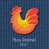 Greeting card Happy New Year and Merry Christmas. Vector illustration with symbol 2017 - fiery red cock . 2017 - Year of the Rooster in the Chinese calendar Stock Image