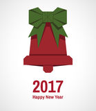 Greeting card happy New Year. Greeting card with origami bell for 2017 Royalty Free Stock Photo