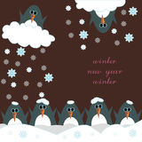 Greeting card Happy New Year with penguins Royalty Free Stock Photography