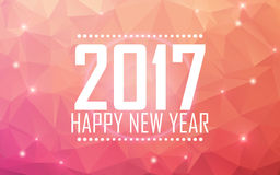 Greeting card Happy New Year 2017. Polygonal background, stars, holiday, shine.. Greeting card Happy New Year 2017. Polygonal background Stock Photography