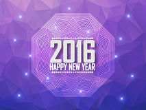 Greeting card Happy New Year 2016. Polygonal background, stars, holiday, shine, mandala. Stock Photo