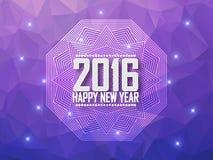 Greeting card Happy New Year 2016. Polygonal background, stars, holiday, shine, mandala. Greeting card Happy New Year 2016.  Vector illustration Stock Photo