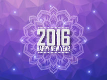 Greeting card Happy New Year 2016. Polygonal background, stars, holiday, shine, mandala. Royalty Free Stock Images