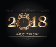Happy New Year 2018 on a gold watch Stock Photography