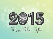 Greeting card for Happy New Year 2015. Poster for Happy New Year 2015 with stylish text and snowflakes on green background Stock Images