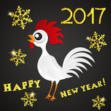 Greeting card happy new year the red rooster. Royalty Free Stock Photos