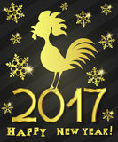 Greeting card happy new year the red rooster. Vector illustration of rooster, symbol of 2017 on the Chinese calendar Royalty Free Stock Image
