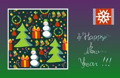 Greeting card Happy New Year! Snowflake, snowman, Christmas tree, gift, stars. Stock Photos
