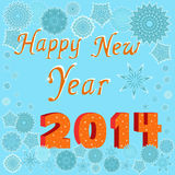 Greeting card Happy New Year 2014. Greeting card with the words Happy New Year 2014 on the background with many beautiful snowflakes, hand drawing vector royalty free illustration