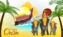 Greeting card for Happy Onam celebration. Stock Photography